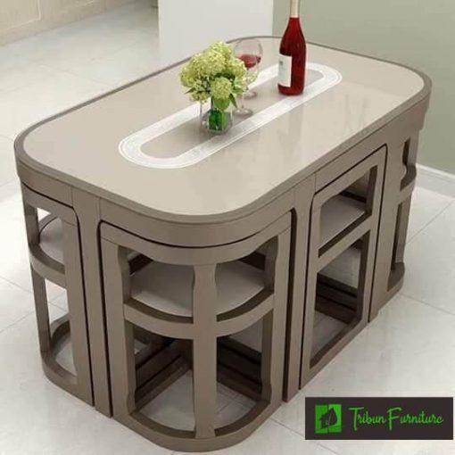 set meja makan minimalis kayu jati